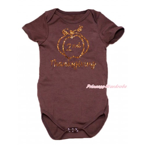 Thanksgiving Brown Baby Jumpsuit & Sparkle 2nd Thanksgiving Painting TH768