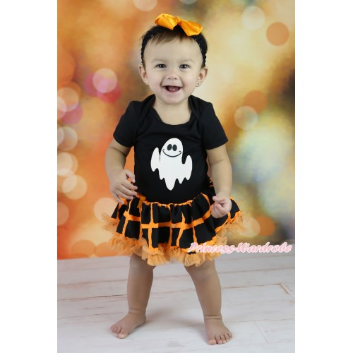 Halloween Black Baby Bodysuit Orange Black Checked Pettiskirt & White Ghost Print JS5864