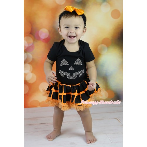 Halloween Black Baby Bodysuit Orange Black Checked Pettiskirt & Rhinestone Pumpkin Face Print JS5865