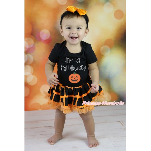 Halloween Black Baby Bodysuit Orange Black Checked Pettiskirt & Rhinestone My 1st Halloween Print & Pumpkin Print JS5866