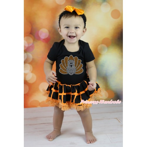 Thanksgiving Black Baby Bodysuit Orange Black Checked Pettiskirt & Sparkle Rhinestone Turkey Print JS5867