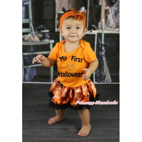 Halloween Orange Baby Bodysuit Orange Black Spider Web Pettiskirt & My First Halloween Painting & Rhinestone Jack Print JS5872