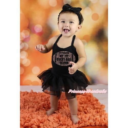 Black Baby Halter Jumpsuit & Sparkle My 1st Rugby Ball Season Painting & Black Pettiskirt JS5885