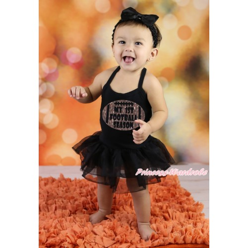 Black Baby Halter Jumpsuit & Sparkle My 1st Football Season Painting & Black Pettiskirt JS588