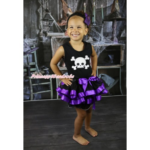 Halloween Black Tank Top & White Skeleton Print & Black Dark Purple Trimmed Pettiskirt MG2616