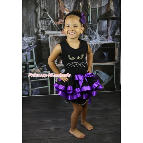 Halloween Black Tank Top & Sparkle Rhinestone Black Cat Face & Black Dark Purple Trimmed Pettiskirt MG2618