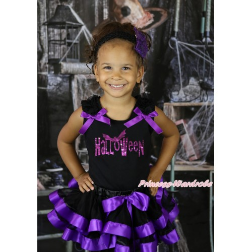 Halloween Black Pettitop Black Ruffles Dark Purple Bow & Sparkle Halloween Painting & Black Dark Purple Trimmed Pettiskirt MG2624
