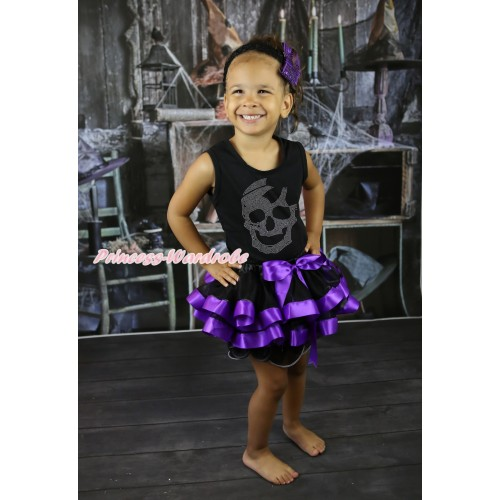 Halloween Black Baby Pettitop & Sparkle Rhinestone Skeleton & Black Dark Purple Trimmed Newborn Pettiskirt NG2251