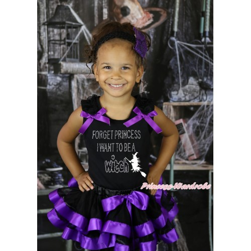 Halloween Black Baby Pettitop Black Ruffles Dark Purple Bow & Rhinestone Forget Princess I Want To Be A Witch Print & Black Dark Purple Trimmed Newborn Pettiskirt NG2257