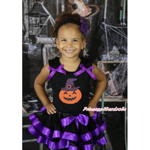 Black Baby Pettitop Black Ruffles Dark Purple Bow & Pumpkin Hat Print & Black Dark Purple Trimmed Newborn Pettiskirt  NG2258