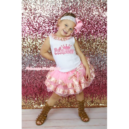 White Baby Pettitop Pink Rose Fusion Lacing & Princess Print & Light Pink Rose Fusion Trimmed Newborn Pettiskirt NG2261