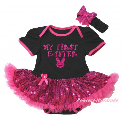 Easter Black Baby Bodysuit Bling Hot Pink Sequins Pettiskirt & Sparkle Hot Pink My First Easter Bunny Painting JS6490