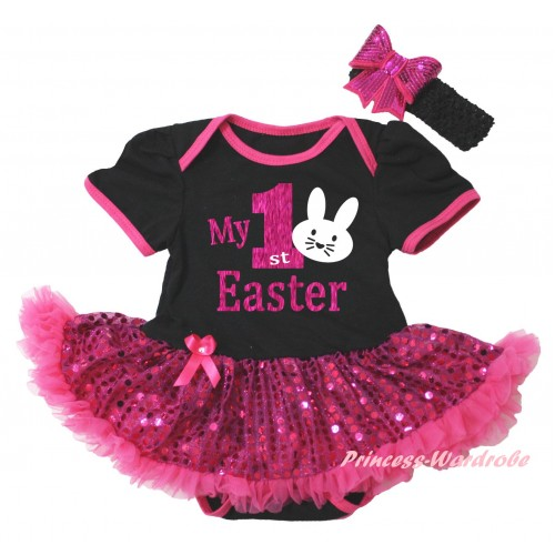 Easter Black Baby Bodysuit Bling Hot Pink Sequins Pettiskirt & Sparkle Hot Pink My 1st Easter White Bunny Painting JS6491