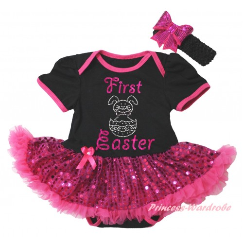 Easter Black Baby Bodysuit Bling Hot Pink Sequins Pettiskirt & Sparkle Pink First Easter Rhinestone Bunny Egg Print JS6492