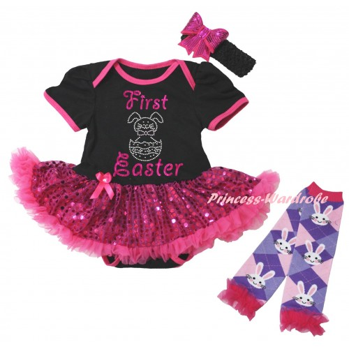Easter Black Baby Bodysuit Bling Hot Pink Sequins Pettiskirt & Sparkle Pink First Easter Rhinestone Bunny Egg Print & Warmers Leggings JS6493