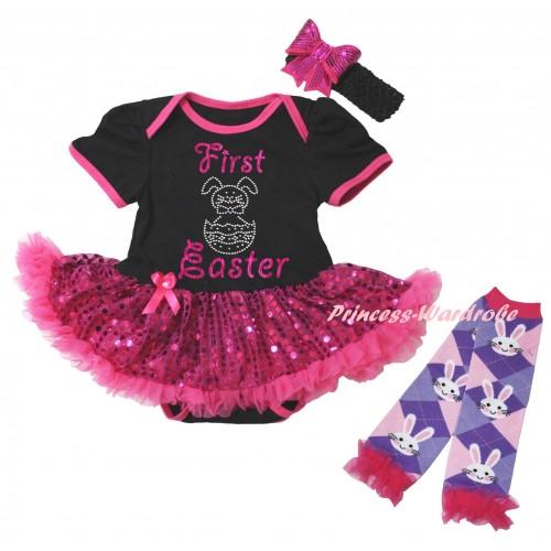 Easter Black Baby Bodysuit Bling Hot Pink Sequins Pettiskirt & Sparkle Pink First Easter Rhinestone Bunny Egg Print & Warmers Leggings JS6493
