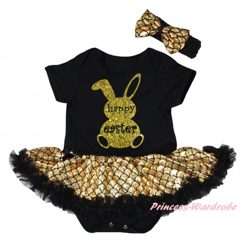 Easter Black Baby Jumpsuit Gold Scale Pettiskirt & Sparkle Gold Happy Easter Rabbit Painting JS6543