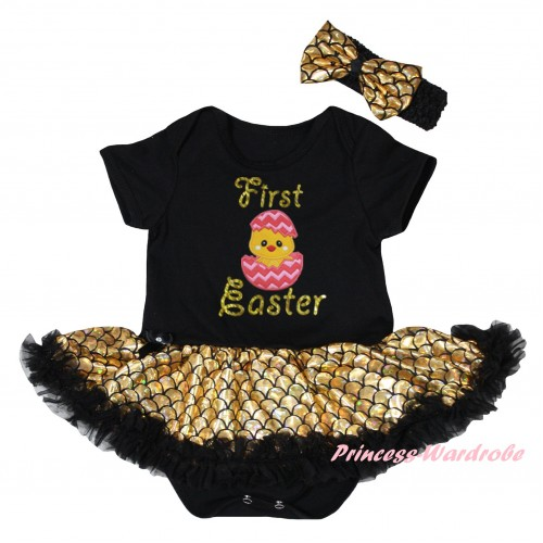 Easter Black Baby Jumpsuit Gold Scale Pettiskirt & Sparkle Gold First Easter Chick Egg Print JS6545