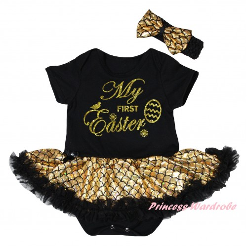 Easter Black Baby Jumpsuit Gold Scale Pettiskirt & Sparkle Gold My First Easter Painting JS6547