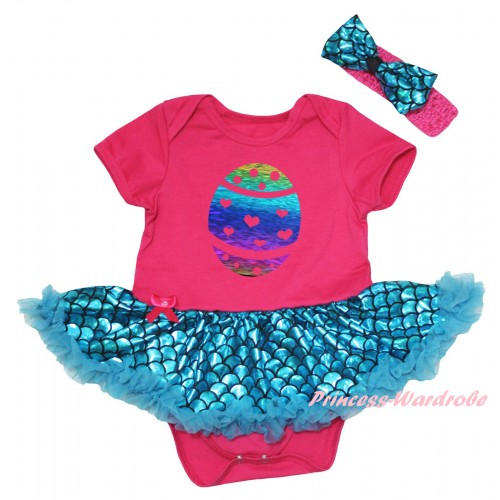 Easter Hot Pink Baby Jumpsuit Blue Scale Pettiskirt & Sparkle Rainbow Easter Egg Painting JS6550