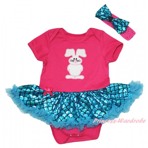 Easter Hot Pink Baby Jumpsuit Blue Scale Pettiskirt & Bunny Rabbit Print JS6554