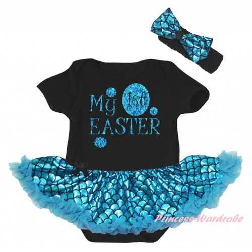 Easter Black Baby Jumpsuit Blue Scale Pettiskirt & Sparkle Blue My 1st Easter Painting JS6556