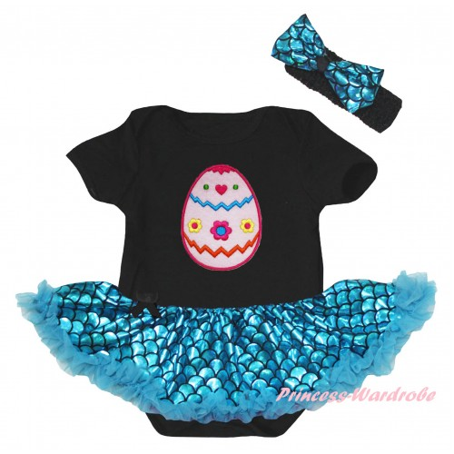 Easter Black Baby Jumpsuit Blue Scale Pettiskirt & Easter Egg Print JS6559
