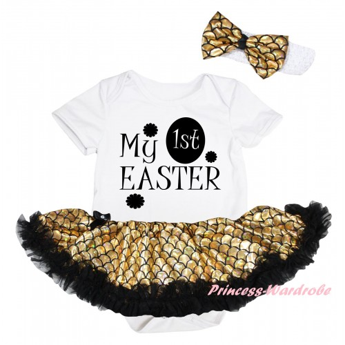 Easter White Baby Jumpsuit Gold Scale Pettiskirt & Black My 1st Easter Painting JS6565
