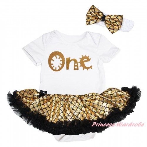 White Baby Jumpsuit Gold Scale Pettiskirt & Gold One Painting JS6569