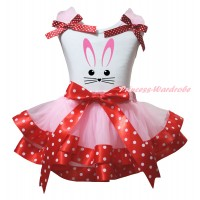 Easter White Tank Top Light Pink Ruffles Minnie Dots Bows & Easter Bunny Face Painting & Light Pink Minnie Dots Trimmed Pettiskirt MG2928