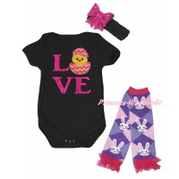 Easter Black Baby Jumpsuit & Sparkle Hot Pink Love Chick Egg Print & Black Headband Hot Pink Bow & Light Pink Ruffles Rabbit Leg Warmer Set TH924