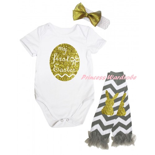 Easter White Baby Jumpsuit & Sparkle Gold My First Easter Painting & White Headband Gold Bow & Grey Ruffles Grey White Wave Gold Rabbit Leg Warmer Set TH927