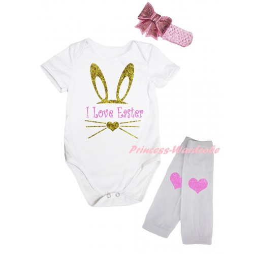 Easter White Baby Jumpsuit & Sparkle I Love Easter Painting & Pink Headband Bow & White Light Pink Heart Print Leg Warmer Set TH929