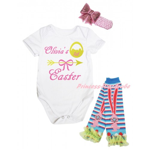 Easter White Baby Jumpsuit & Olivia's 1st Easter Painting & Pink Headband Bow & Yellow Ruffles Rabbit Leg Warmer Set TH930