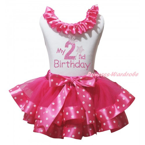 White Pettitop Hot Pink White Dots Lacing & Sparkle Rhinestone My 2nd Birthday Print & Hot Pink White Dots Trimmed Pettiskirt MG2946