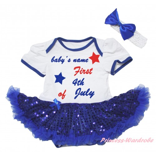 American's Birthday White Baby Bodysuit Jumpsuit Bling Royal Blue Sequins Pettiskirt & Baby's Name First 4th of July Painting JS6579