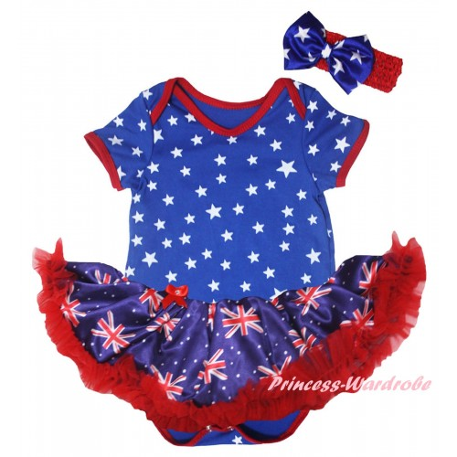 American's Birthday Royal Blue White Star Baby Bodysuit Jumpsuit Red Patriotic British Pettiskirt JS6585