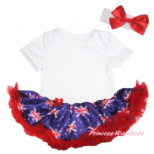 American's Birthday White Baby Bodysuit Jumpsuit Red Patriotic British Pettiskirt JS6587