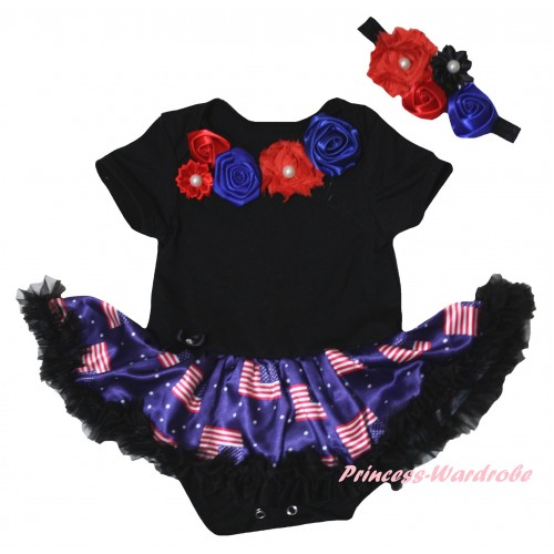 American's Birthday Black Baby Bodysuit Jumpsuit Black Patriotic American Pettiskirt & Red Royal Blue Vintage Garden Rosettes Lacing JS6590
