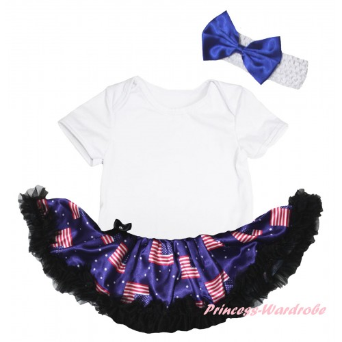 American's Birthday White Baby Bodysuit Jumpsuit Black Patriotic American Pettiskirt JS6591