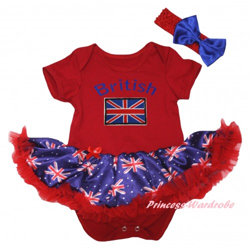 American's Birthday Red Baby Bodysuit Jumpsuit Red Patriotic British Pettiskirt & British Flag Print JS6593