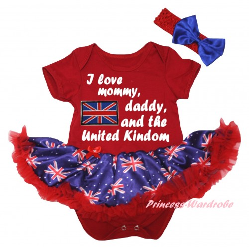 American's Birthday Red Baby Bodysuit Jumpsuit Red Patriotic British Pettiskirt & Patriotic British Flag I Love Mommy, Daddy, And The United Kindom Painting JS6597