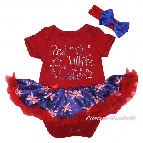 American's Birthday Red Baby Bodysuit Jumpsuit Red Patriotic British Pettiskirt & Rhinestone Red White Cute Print JS6598