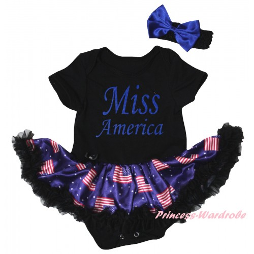 American's Birthday Black Baby Bodysuit Jumpsuit Black Patriotic American Pettiskirt & Blue Miss America Painting JS6610