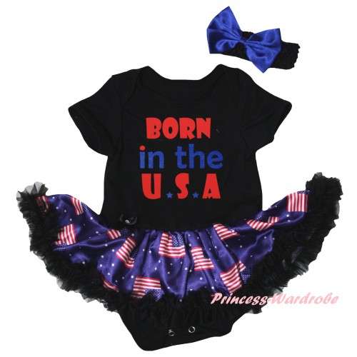 American's Birthday Black Baby Bodysuit Jumpsuit Black Patriotic American Pettiskirt & Born In The U.S.A Painting JS6612