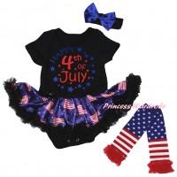 American's Birthday Black Baby Bodysuit Jumpsuit Black Patriotic American Pettiskirt & Happy 4th Of July Painting & Warmers Leggings JS6615