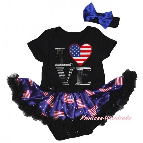 American's Birthday Black Baby Bodysuit Jumpsuit Black Patriotic American Pettiskirt & Love American Heart Print JS6616