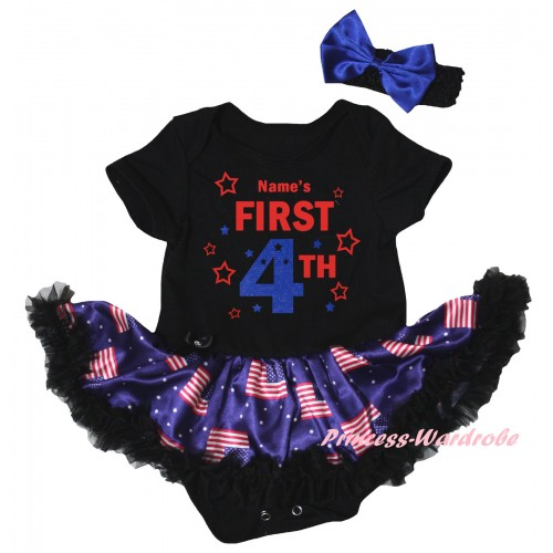 American's Birthday Black Baby Bodysuit Jumpsuit Black Patriotic American Pettiskirt & Name's First 4th Painting JS6617