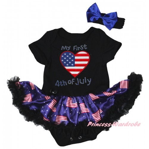 American's Birthday Black Baby Bodysuit Jumpsuit Black Patriotic American Pettiskirt & Rhinestone My First American Heart 4th Of July Print JS6619