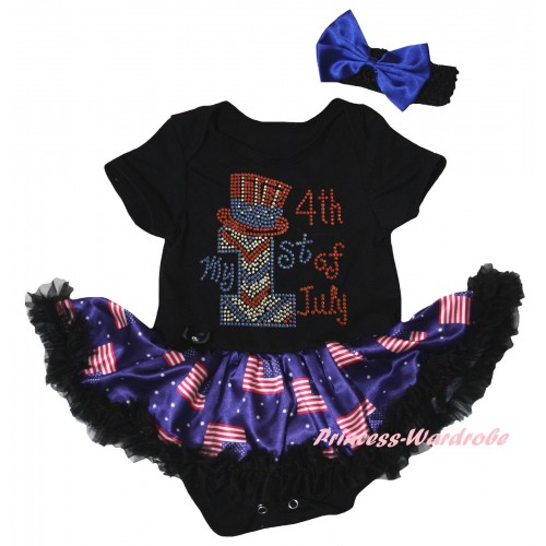 American's Birthday Black Baby Bodysuit Jumpsuit Black Patriotic American Pettiskirt & Sparkle Rhinestone My 1st American 4th Of July Print JS6621